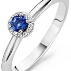 Blush Ring Witgoud met Saffierblauwe Zirconia
